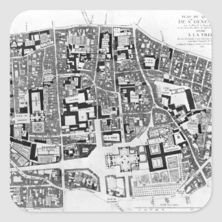 Sainte-Genevieve区域の地図、パリ1756年 スクエアシール