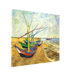 Saintes Mariesのビーチのゴッホの漁船 キャンバスプリント
