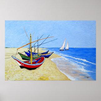 Saintes Maries de laのビーチの漁船 ポスター