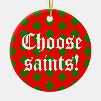 Saints_Aplenty Slogan Circ (Christmas Ed. #2) セラミックオーナメント
