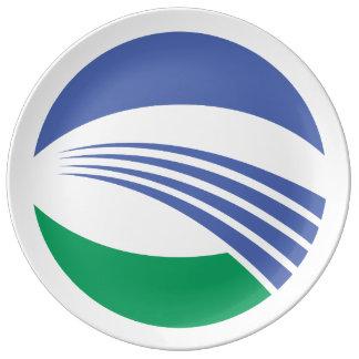 Sakata日本の旗。 山形県 磁器プレート