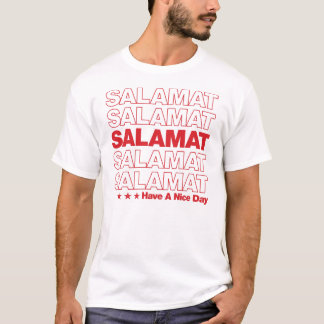 """Salamatは""""""""買い物袋のデザイン-赤感謝していしています Tシャツ"""