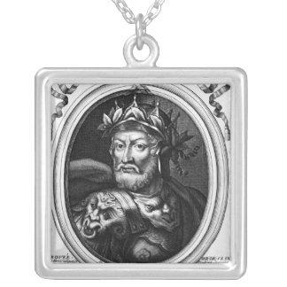 SalianフランクのMerovech王のポートレート シルバープレートネックレス