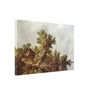 Salomon van Ruysdael -川の景色 キャンバスプリント