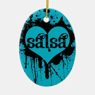 SALSERAまたはSALSEROのためのサルサのハートのデザイン セラミックオーナメント