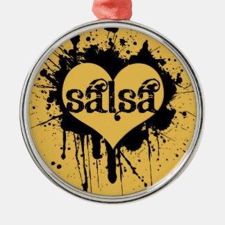 SALSERAまたはSALSEROのためのサルサのハートのデザイン メタルオーナメント