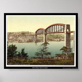 Saltash橋、プリマス、イギリス ポスター
