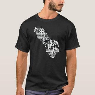 Saltonの海の単語の地図: 暗い tシャツ