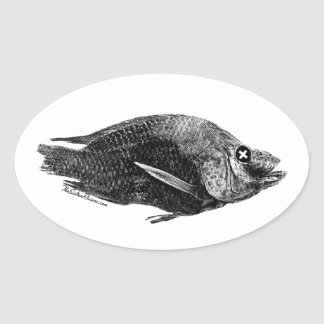 Saltonの海の死んだイズミダイの楕円形のステッカー 楕円形シール