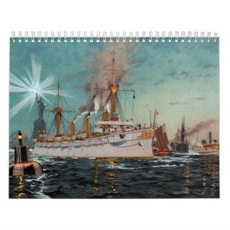 Saltzmann著ニューヨークを去るSMS Kaiserinオーガスタ カレンダー
