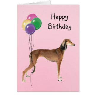 Salukiの誕生日の気球 カード