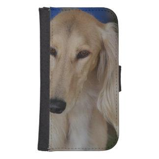 Salukiブロンドの犬 ウォレットケース
