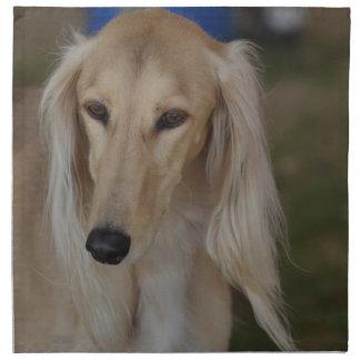 Salukiブロンドの犬 ナプキンクロス