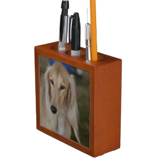 Salukiブロンドの犬 ペンスタンド