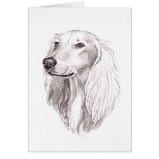 Saluki犬の芸術の挨拶状 カード