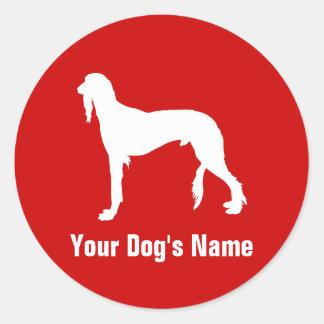Saluki (かガゼル猟犬)名前入りなサルーキ ラウンドシール