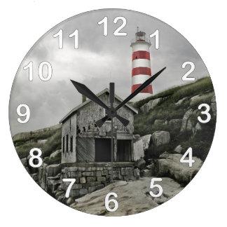 Sambroの灯台、Sambroの島、ノバスコシア ラージ壁時計