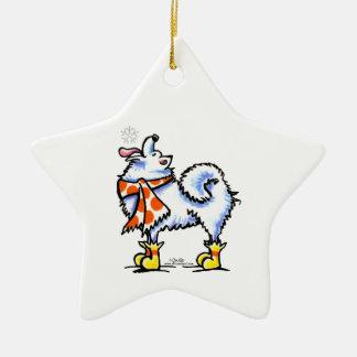 Samoyedのアメリカのエスキモー犬の雪片 セラミックオーナメント