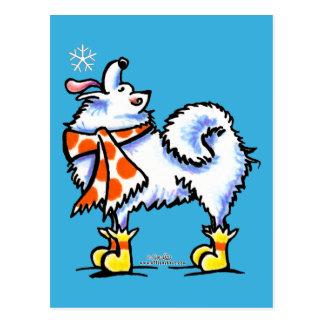 Samoyedのアメリカのエスキモー犬の雪片 ポストカード