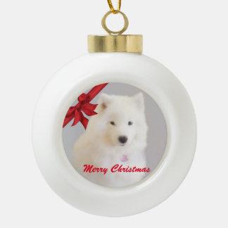 Samoyedのクリスマスのオーナメント; 陶磁器の球 セラミックボールオーナメント