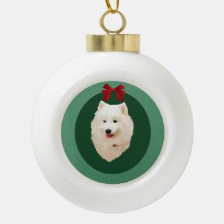 Samoyedのクリスマスの休日のオーナメント; 無署名 セラミックボールオーナメント