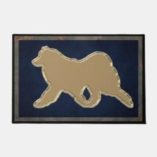 """Samoyedの金ゴールド24"""" x36""""絶妙な戸口の記入項目のマット ドアマット"""