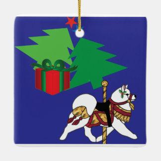 Samoyedの陶磁器のカスタムな休日のオーナメント セラミックオーナメント