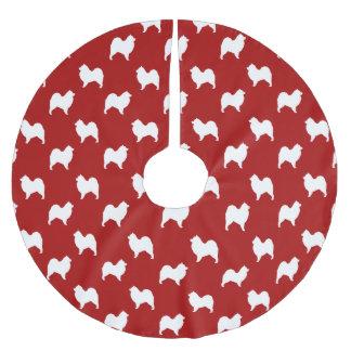 Samoyedはパターン赤のシルエットを描きます ブラッシュドポリエステルツリースカート