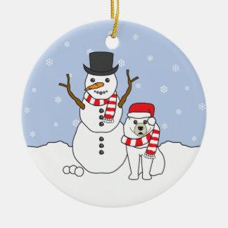 Samoyed及び雪だるまのオーナメント セラミックオーナメント