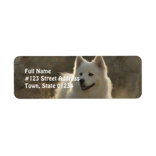 Samoyed犬の差出人住所ラベル 返信用宛名ラベル