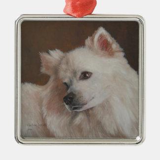 Samoyed犬の絵画のクリスマスのオーナメント メタルオーナメント