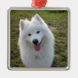 Samoyed犬の美しい写真のぶら下がったなオーナメント メタルオーナメント
