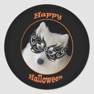 Samoyed Halloween Stickers, 2 sizes, Glossy/Matte ラウンドシール