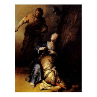 Samsonを絵を描くレンブラントの芸術 ポストカード