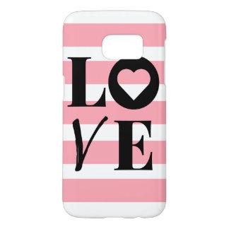 Samsungの銀河系7の箱-愛-ピンク及び白のストライプ Samsung Galaxy S7 ケース