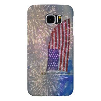 Samsungの銀河系S6の箱米国の旗の花火 Samsung Galaxy S6 ケース