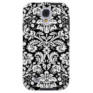 Samsungの黒いダマスク織パターン Galaxy S4 ケース