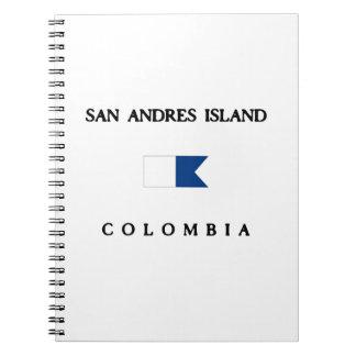 San Andresの島のコロンビアのアルファ飛び込みの旗 ノートブック