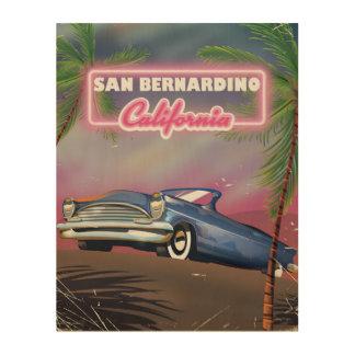 San Bernardinoカリフォルニアレトロ米国旅行ポスター ウッドウォールアート