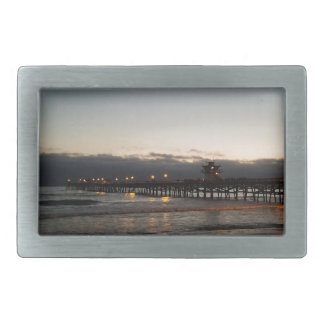 San Clemente桟橋の夜の海カリフォルニア 長方形ベルトバックル