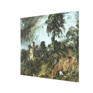 Sandbankが付いている木、c.1830-36 (oi間のコテージ キャンバスプリント