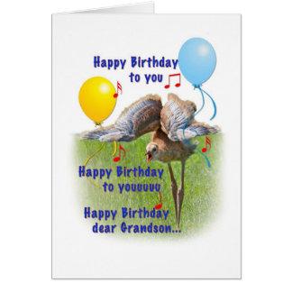 Sandhillクレーン鳥が付いている孫のバースデー・カード カード