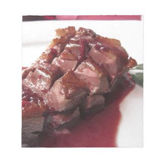 Sangioveseの赤ワインソースの鴨胸肉 ノートパッド