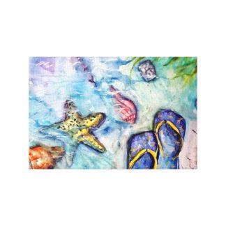 Sanibelのサンダルのフロリダの水彩画の芸術 キャンバスプリント