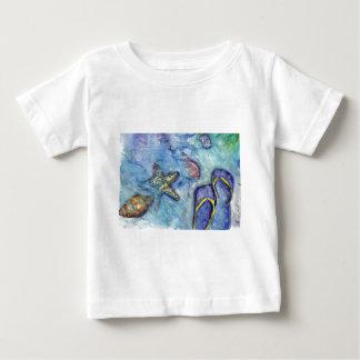 Sanibelのサンダルの水彩画 ベビーTシャツ