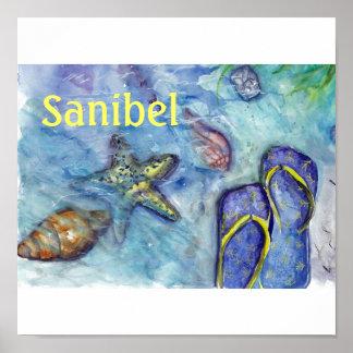 Sanibelのサンダルの水彩画 ポスター