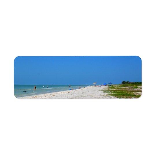 Sanibelのビーチの差出人住所ラベル 返信用宛名ラベル