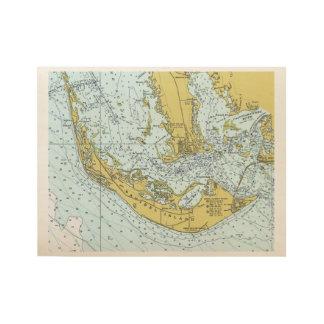 Sanibelの島のヴィンテージの地図 ウッドポスター