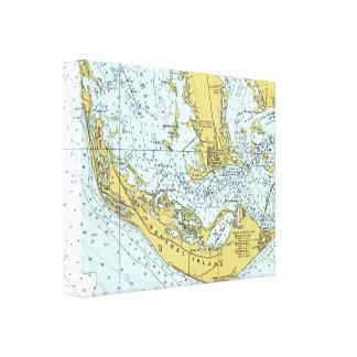 Sanibelの島のヴィンテージの地図 キャンバスプリント