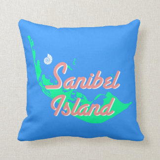 Sanibelの島の地図の輪郭のデザイン クッション